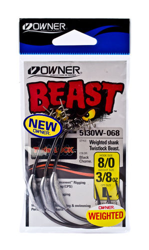 OWNER WEIGHTED SHANK TWIST LOCK BEAST 6/0 1/4OZ L QTY3