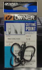 OWNER CUTTING POINT RINGED GORILLA HOOK 4/0 QTY4